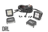 Image 2-inch Square Cree LED Lights - (Pair | Chrome Series w/ Amber DRL)