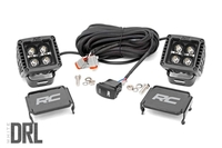 Image 2-inch Square Cree LED Lights - (Pair | Black Series w/ Cool White DRL)