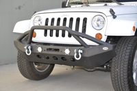Image Steel Mid Front Bumper 08 w/ LED Lights for 07-16 Jeep Wranglers