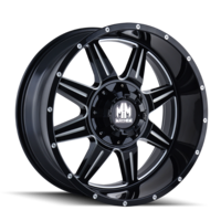 Image MONSTIR (8100) GLOSS BLACK/MILLED SPOKES 17x9