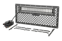 Image Laser-Cut Mesh Grille w/ 20-inch Chrome Series Dual Row CREE LED Light Bar (Wran