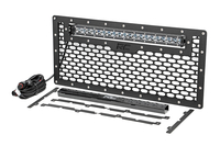 Image Laser-Cut Mesh Grille w/ 20-inch Chrome Series Single Row CREE LED Light Bar (Wr
