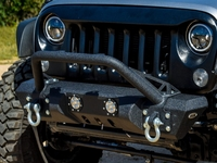 Image Steel Mid Front Bumper 11 w/ LED Lights for 07-16 Jeep Wrangler