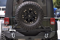Image Black Rear Bumper with Tire Carrier 01 Tapered Bearing 07-16 Jeep
