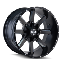 Image BUSTED (9100) SATIN BLACK/MILLED SPOKES 22x12