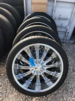 "Image (FOUR) 24"" CHROME BORGHINI B15 WHEELS AND TIRES - $1200"