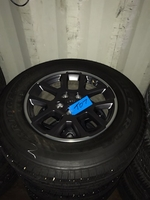 """Image Four Jeep JT 18"""" Gray / Polished Gladiator wheels and tires"""